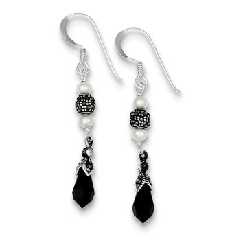 Sterling Silver Onyx & Fresh Water Cultured Pearl Marcasite Dangle Earrings