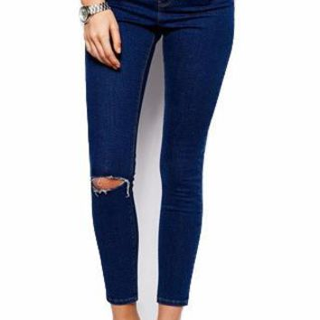 Dark Wash High Waisted Ripped Skinny Jeans