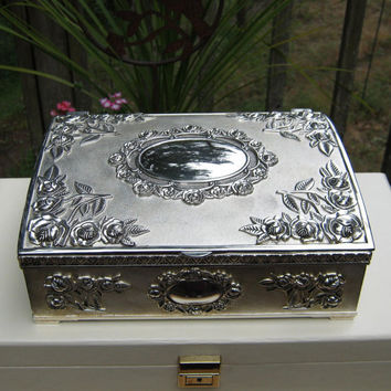 Silver Victorian Style Jewelry Box made by Godinger