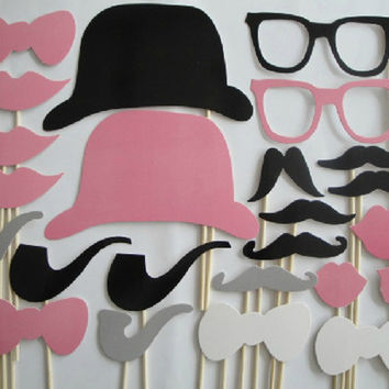24PCS Colorful Mustache Photo Booth Props Pink Gray Moustache Lips Bowtie Photobooth Party Wedding Christmas Birthday Fun Favor Costume