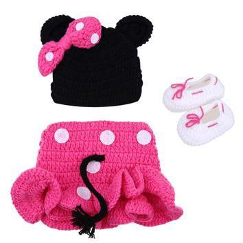 Newborn Photography Props Baby Girl Hat + Skirt + Baby Shoes Newborn Crochet Knit Mous