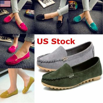 US Women's Shoes Nurse Peas Shoes Leather Summer Flat Breathable Casual Walking