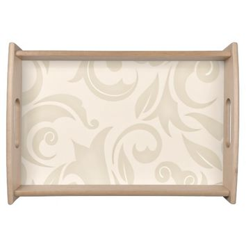 Vintage Tan Flourishes and Leaves Serving Tray