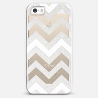 TRANSPARENT SILVER CHEVRON & WHITE CRYSTAL CLEAR iPhone 5s case by Monika Strigel | Casetagram