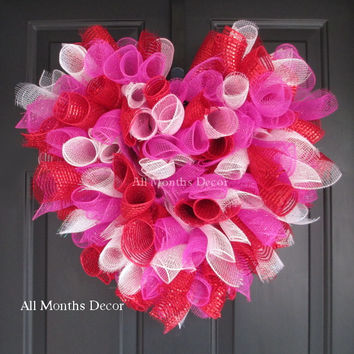 Hot Pink Metallic Red White Valentine Deco Mesh Heart Wreath