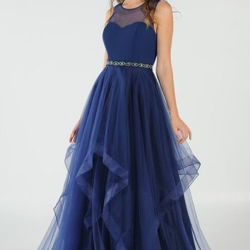 Illusion Beaded Waist Layered Long Prom Dress Navy Blue