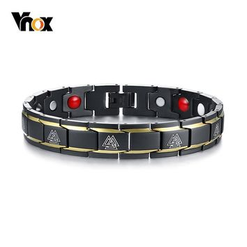 Vnox Germanium Magnetic Bracelets for Men Viking Bangle Stainless Steel Power Bio Energy Male Jewelry Nordic Amulet Pulseira