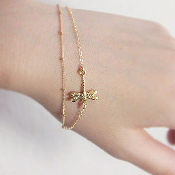 Dragonfly Gold Bracelet- 14k gold filled layered seasonal multi strand jewelry by petitor