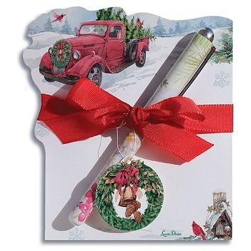 Red Truck Hauling Christmas Tree with Red Cardinals Note Pad and Pen Set