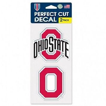 """OHIO STATE BUCKEYES LOGO 4""""X4"""" DIE CUT DECAL 2-PACK CAR HOME BRAND NEW WINCRAFT"""