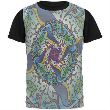 CREYCY8 Mandala Trippy Stained Glass Spring Birds All Over Mens Black Back T Shirt