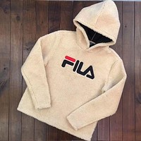 FILA Fashion Casual Long Sleeve To Keep Warm Lambs wool Hoodie Pullover Sweater Khaki G