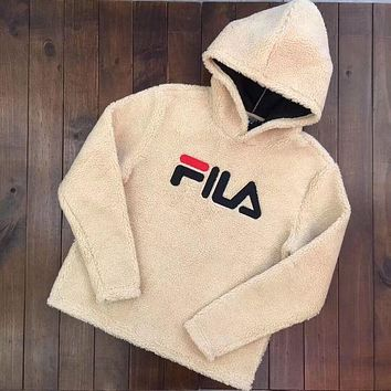 FILA Winter Warm Trending Women Loose Lambs Wool Hooded Sweater Top Khaki I