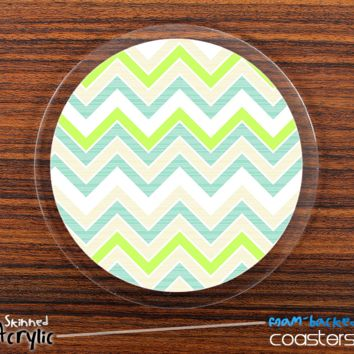 The Green & White Chevron Pattern Skinned Foam-Backed Coaster Set