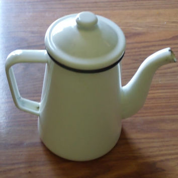 Vintage Graniteware Enamelware Teapot White Black Trim Kitchen
