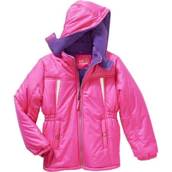 Pink Platinum Girls' Banded Waist Puffer Jacket with Pockets and Hood, Pink, 4