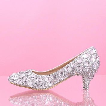PEAPIX3 Mid heel wedding shoes White Diamond Princess Bride shoes crystal shoes glass slipper = 1930067588