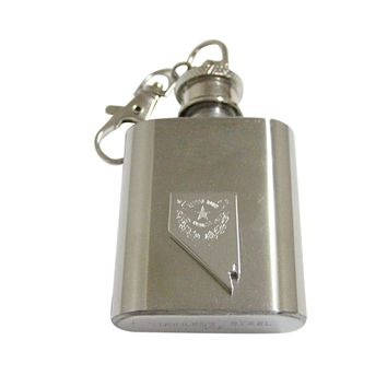 Nevada State Map Shape and Flag Design 1oz Keychain Flask