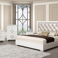 Acme 20240Q 5 pc Vivaldi white high gloss finish wood pearl faux leather queen bedroom set