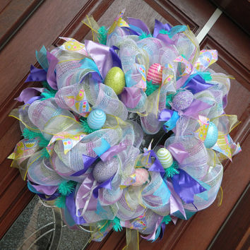 Deco Mesh Easter Wreath, Pastel Deco Mesh Wreath, Spring Wreath, Easter Decor, Home Decor, Purple Easter Wreath, Easter Egg Wreath