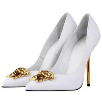 New Versace White Leather Medusa Pumps Heels It. 38.5