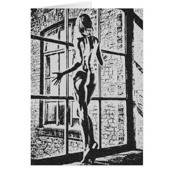 Waiting for her lover, erotic black and white card