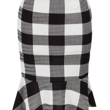 Streetstyle  Casual Black White Plaid Mermaid Midi Skirt