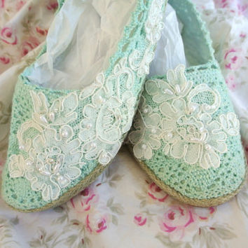 Espadrille, women's lace Boho embellished shoes, spring floral romantic, shabby, mint green french cottage chic, 8.5
