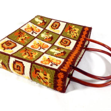 Vintage 70s Needlepoint Purse Butterflies Snails Mushrooms Fall Colors Orange Brown Yellow Lucite Handles Retro Tote Bag Happy Hippie Purse