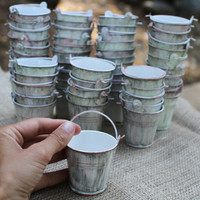 Mini Water-pails for Wedding or party favors buckets, vintage  rustic look hand painted. Plant a seed, fill with candy or a tea light
