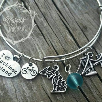 Mackinac Island bracelet - Michigan charm bangle bracelet with bridge, sea glass, bike and Mackinac Island charms.