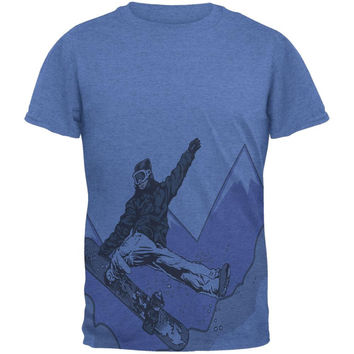 Shred The Gnar Snowboarder All Over Heather Blue Adult T-Shirt