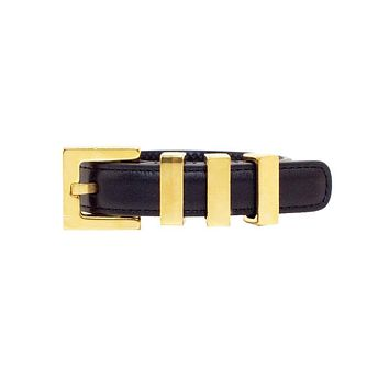 Saint Laurent Classic 3 Gold Passants Black Leather Bracelet Large 340552