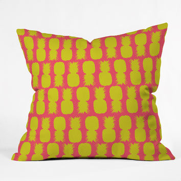 Allyson Johnson Neon Pineapples Throw Pillow