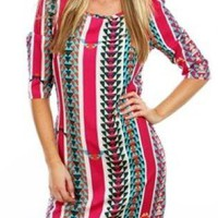 Red and Turquoise Striped Tribal Print 3/4 Sleeves Dress