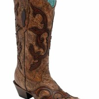 Corral Brown Patch Overlay Boots C2902