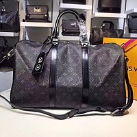 LV Hot Selling Male and Female Printed Travel Large Baggage Single Shoulder Baggage with Black pattern printing High Quality