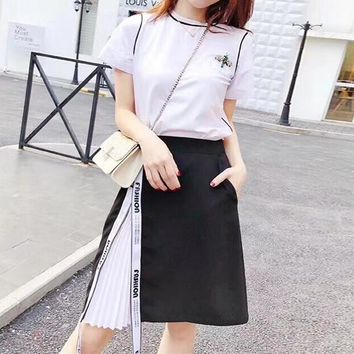"""Chanel"" Women Casual Fashion Short Sleeve Small Bee T-shirt Letter Webbing Multicolor Skirt Set Two-Piece"