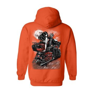 Men's/Unisex Zip-Up Hoodie Ride Til You DIE Biker Grim Reaper