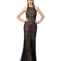 Adrianna Papell Beaded Open-Back Halter Gown - Black/Nude