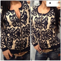 Autumn/winter women's sweater blazer jacket blue white porcelain printed loose long-sleeve sweaters = 1932090820