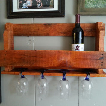 Antique Walnut Stained Rustic Wood Pallet Wine Rack (small)