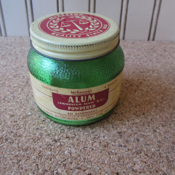 Vintage Apothecary Green Glass Jar of McKesson's Powdered Alum