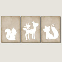 WOODLAND Wall Art CANVAS or Prints Nursery Artwork DEER Bird Squirrel Fox Wood Forest Girl Boy Set of 3 Crib Baby Decor