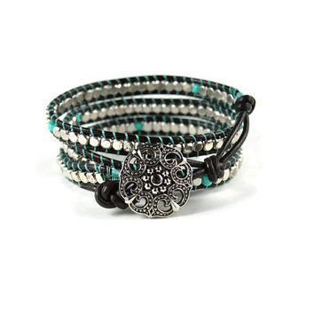 Silver Wrap Bracelet, Silver Leather Wrap, Turquoise Wrap Bracelet, Turquoise Leather Wrap, Silver and Turquoise Wrap Bracelet