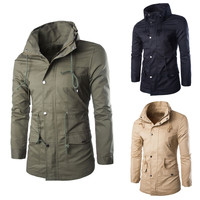 Stand Collar Drawstring Snap Button Front Pockets Coat