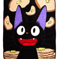 Studio Ghibli Kiki's Delivery Service Pancakes Jiji Throw Blanket