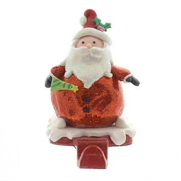 Christmas SANTA/SNOWMAN STOCKING HOLDER Plastic Clay/Dough Pewter D2870 Santa