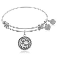 Expandable Bangle in White Tone Brass with Pisces Symbol