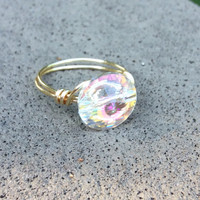 Swarovski crystal ring nickel free, custom size clear crystal